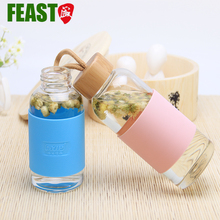 Fashionable 300ml protective sleeves for glass bottle with bamboo lid