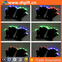 Pair of 7 Mode LED Light Up Flashing Colorful Rave Black Party Gloves