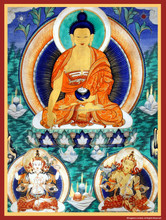 Tibetan Thangka Je Tsongkhapa Hand-Painted in Nepal and Mounted in Brocade, Buddhist Thangka Painting with Je Tsongkhapa