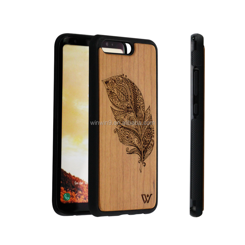 2017 Bamboo wooden engraving design wooden cell phone cases for iphone 8 ,mobile phone accessories
