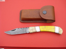 Damascus Folding Knife hand made Damascus folding knife colorful bone and mother of pearl handle