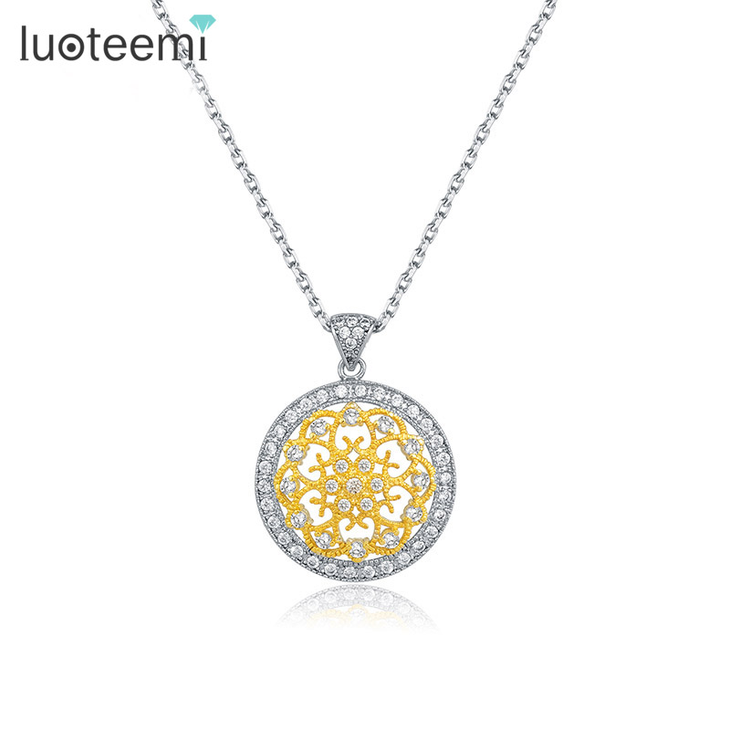 LUOTEEMI Unique Style Luxury White Gold & Yellow Gold Plated Cubic Zirconia CZ Art Deco Medallion Pendant Necklace