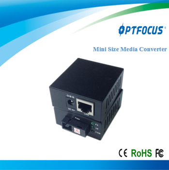10/100M Mini Size fiber media converter 1310&1550nm single fiber single mode 20Km SC ,support OEM