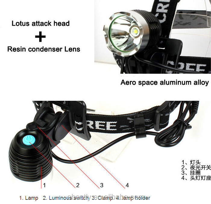 Wholesale high quality Cree Q5 led headlamp and Cree T6 led headlamp Black Aluminium cree xml t6 led headlamp