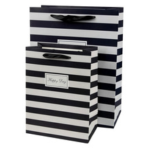 Black and white stripe gift bag party present paper bags