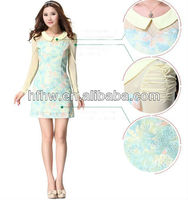 Fall 2013 new printing splicing brought fashion long-sleeved cultivate one's morality dress the doll
