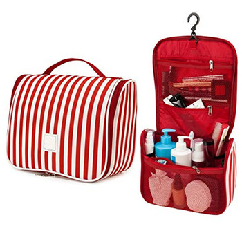 Folding stripes hanging travel waterproof personalized toiletry cosmetic bag