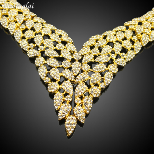 Gorgeous gold plated bridal jewelry sets for wedding statement
