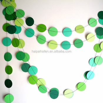 Green circles paper garland green shades party decor birthday party garland