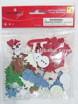 75ct Christmas EVA Foam Glitter Sticker