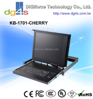 "1U 17"" LCD KVM Drawer use 85 Key USB Cherry Keyboard with Trackball (ML Technology) depth only 430mm"