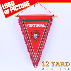 Custom World Cup Digital Printed Portugal Paper Triangle Flags Pennant for Fans Home Decoration Banner FC-003