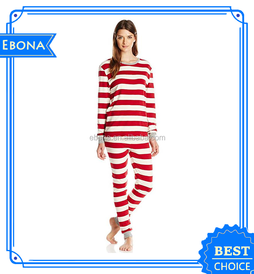 Custom Hot Ladies Striped Pajamas Sleepwear Wholesale Women Comfort Nightwear