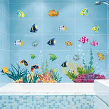 Colorcasa Cartoon SeaWorld <strong>Bathroom</strong> 3D <strong>Wall</strong> Decoration Sticker For Kids Room Tropical Fish Home <strong>Decor</strong>