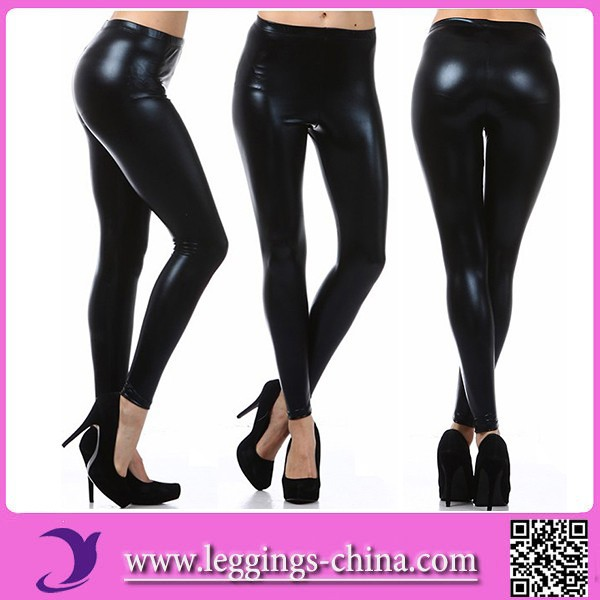 2015 CF1154 Faux Leather High Quality Wetlook Leggings