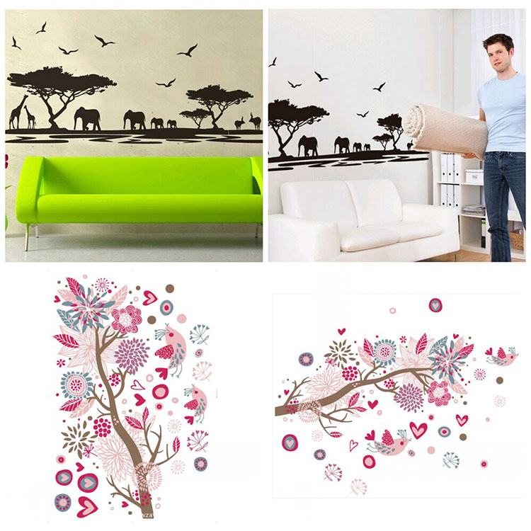 Removable Boho Style Nature Animal Flower Tree Transparent Film Wall Sticker