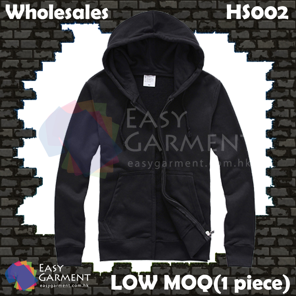 Wholesales Low MOQ HS002 360G Black Terry Zip up Sweater Hoodies