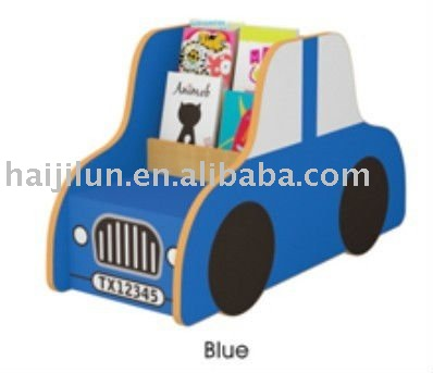 HAJILUN children library furniture car shape wooden bookshelf HJL-CG010