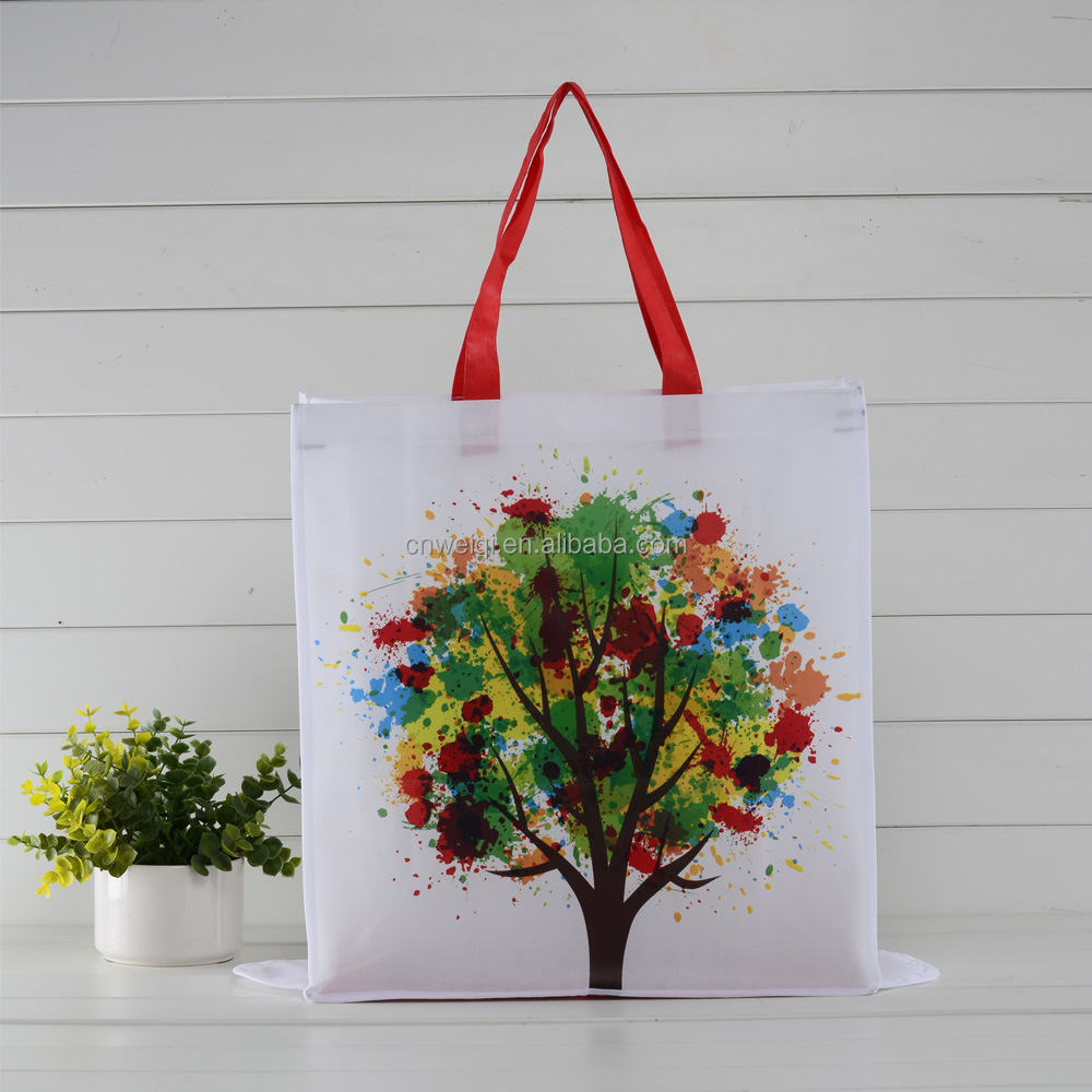 cheap price folding pictures printing non woven polypropylene tote shopping bag