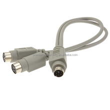 PS2 Splitter 6 pin Mini Din Male Plug to 2 x Female Sockets Cable 30cm