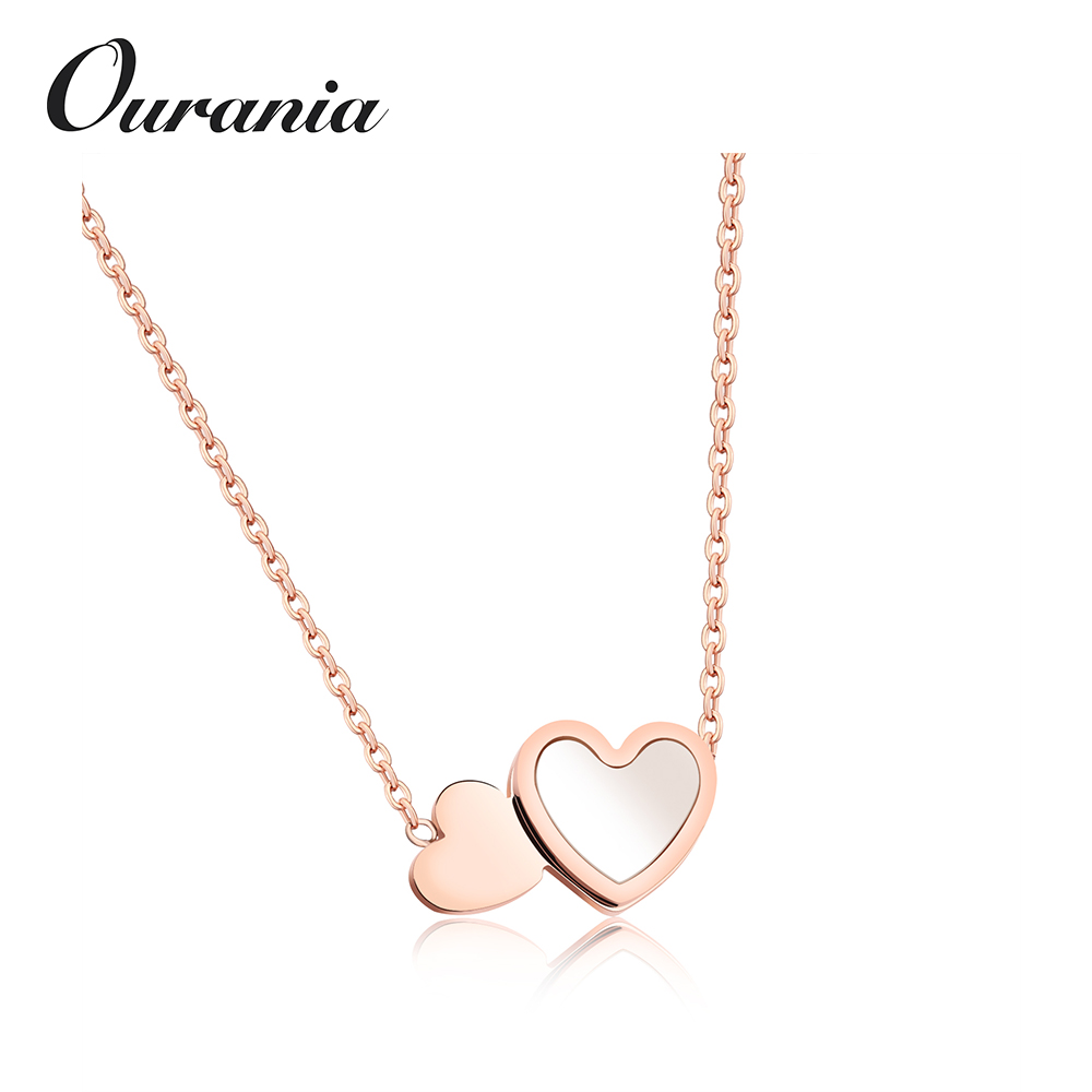 Women Necklace Heart Pendant Fashion Girl Lady Party Jewelry Stainless Steel Chain Rose Gold Color