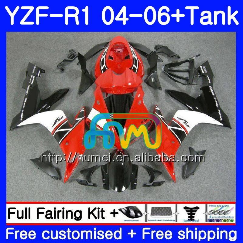 Body kit For YAMAHA red white YZF 1000 R 1 YZF <strong>R1</strong> <strong>04</strong> 05 06 95HM44 YZF-1000 YZF-<strong>R1</strong> 2004 2005 2006 YZF1000 YZFR1 <strong>04</strong> 06 <strong>Fairing</strong>