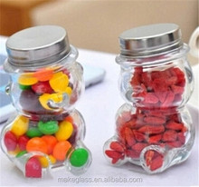 Cute Teddy Bear Glass Jar Candy Jar Glass Storage Bottle Creative Fruit Bottle
