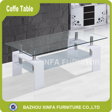 New Design Double Layer Tea Table Glass Coffee Table Modern
