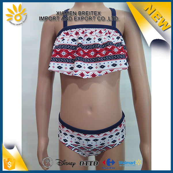 Top quality multicolor printed beautiful girls children bikini pictures