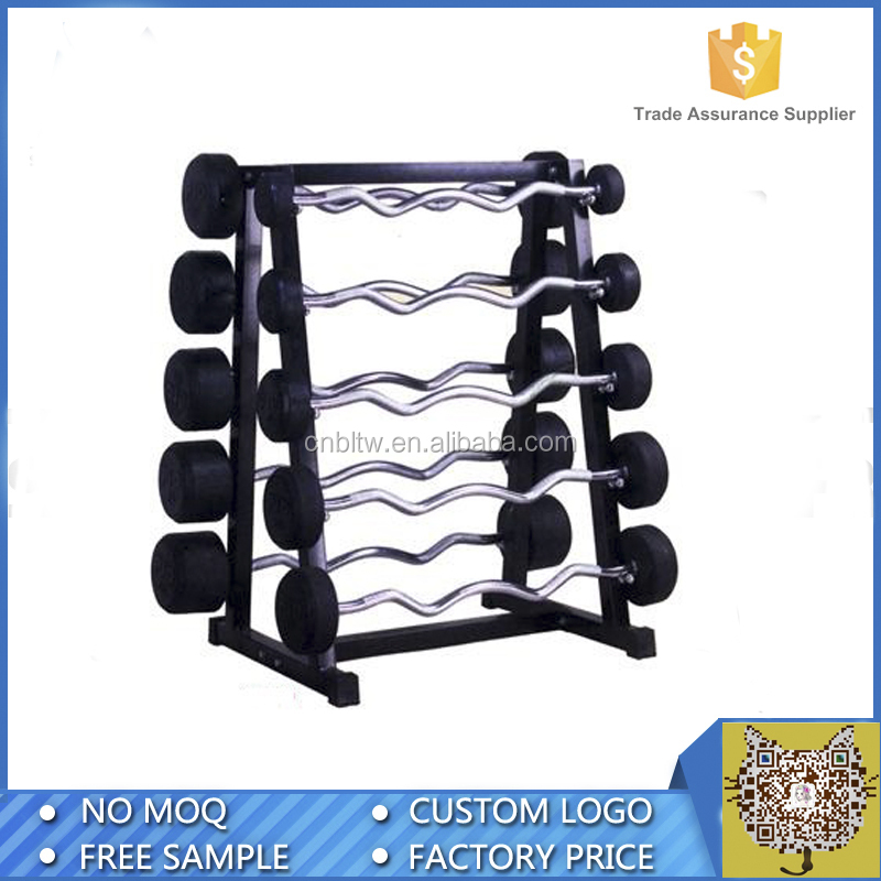 Strength Training Equipment/ Free Weights/ Fixed Black Rubber Dumbell /RACK