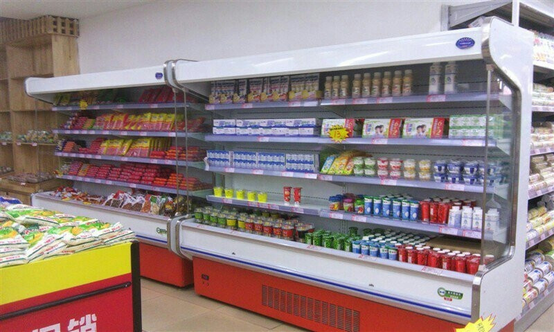 supermarket wall showcase commercial refrigerator for milk fruit and vegetable