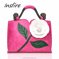 Special design flower bag wholesale lady handbag tote bag with wood handle