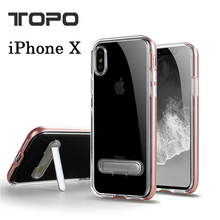 Aluminum Bumpers shockproof hand free holder TPU soft transparent cell phone case with stand for iphone X 5 6 8 plus kickstand
