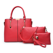 <strong>Fashion</strong> 3pcs in one set bag pu leather ladies purse women handbag set with low price