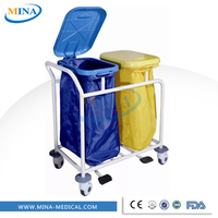 Hot sale Steel frame cheap price linen hospital cleaning trolley