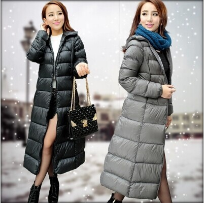 2016 China Supplier Russian Winter Women Goose feather Down Long Coat