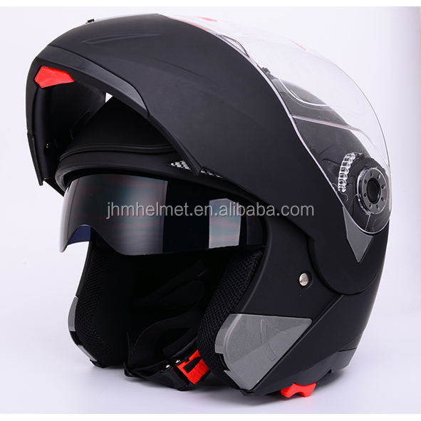 matt black DOT approved dual visors flip up sun shield motorcylce helmets