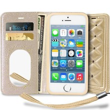 2 in 1 Leather Magnetic Flip Wallet Case Protective Cover with Mirror and Card Holder For Apple IPhone 5