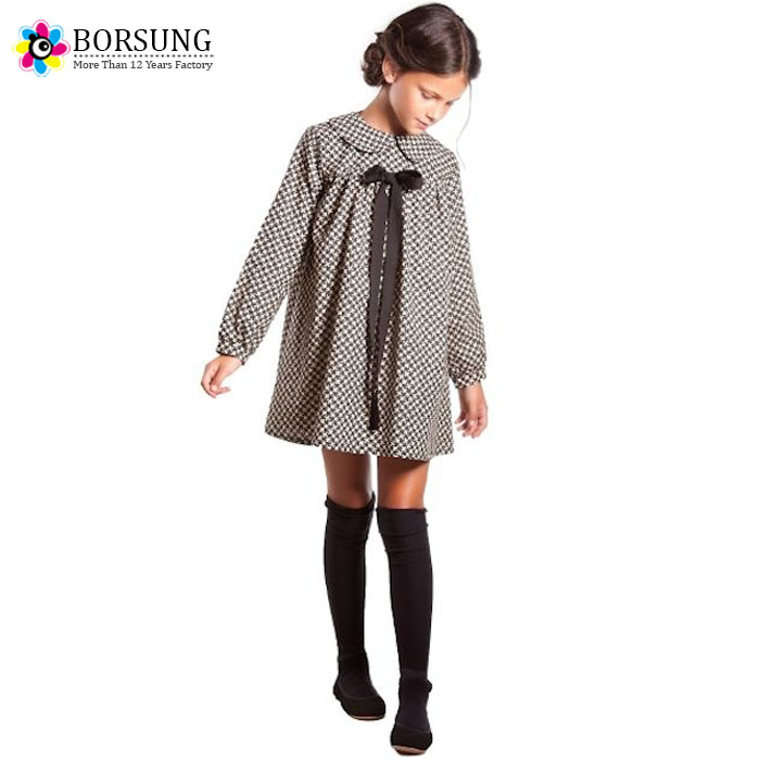 2017 Spring Old European Style Frock Designs Long Sleeve Brown Gingham Puffy Dress Designs For Girls Kids Clothes