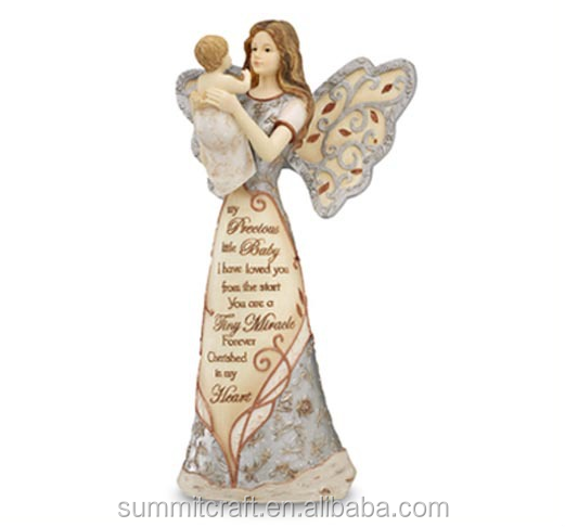 Lettering angel wood effect polyresin angel figurine
