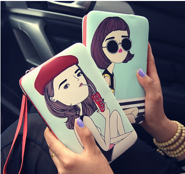 2016 New Fashion Women Wallets Soft Pu Leather Ladies Clutch Purse Cute Cartoon Girls Coin Purse