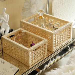 YRMT wholesale custom size natural small woodchip storage basket with handles
