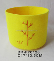 Felt round paper wast basket with embroidery tree