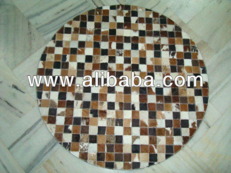 Hecho a mano de piel de la vaca cuero patchwork alfombra for Alfombras patchwork persas