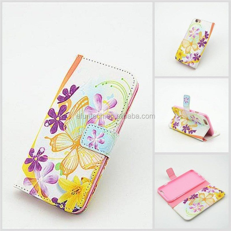 Factory OEM mobile accessory girls use cute image PU leather wallet flip cell phone case For iphone SE 5S 5