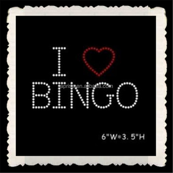 Aprise - I love bingo hotfix rhinestone heat transfer iron on motif
