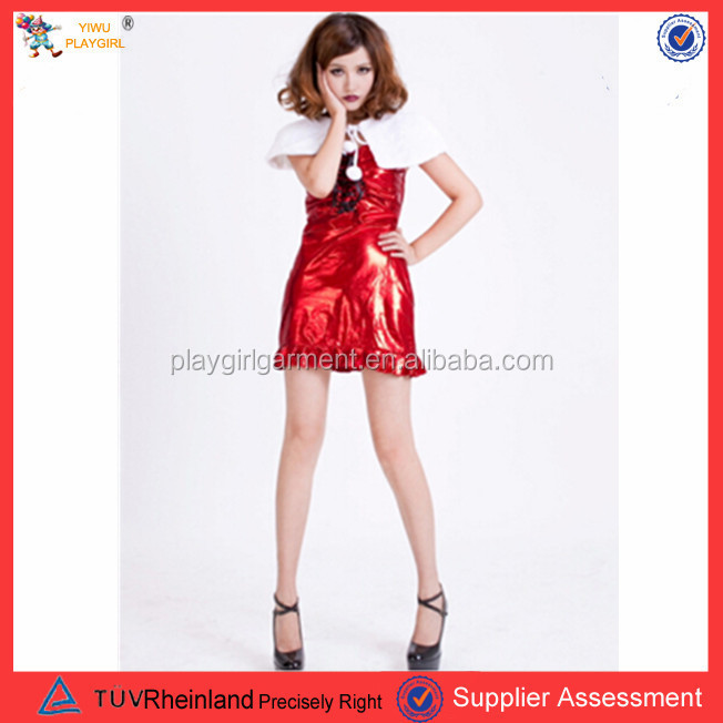 PGWC1812 Sexy fever red light santa christmas costume party dance wear short bubble party dresses