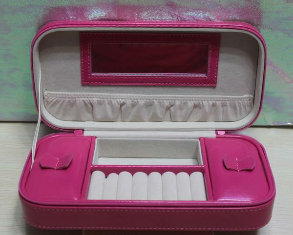 Pink leather make up case&cosmetic case with mirror