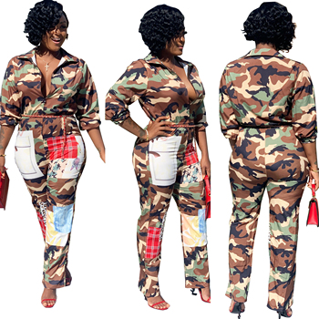 2019 Women One piece camouflage print long sleeve zipper turn down collar wide leg jumpsuit
