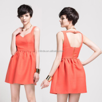 Western Customized A-line Sweetheart Short Deep V-neck Dress / Ladies Latest Red Sexy Dress Pattern